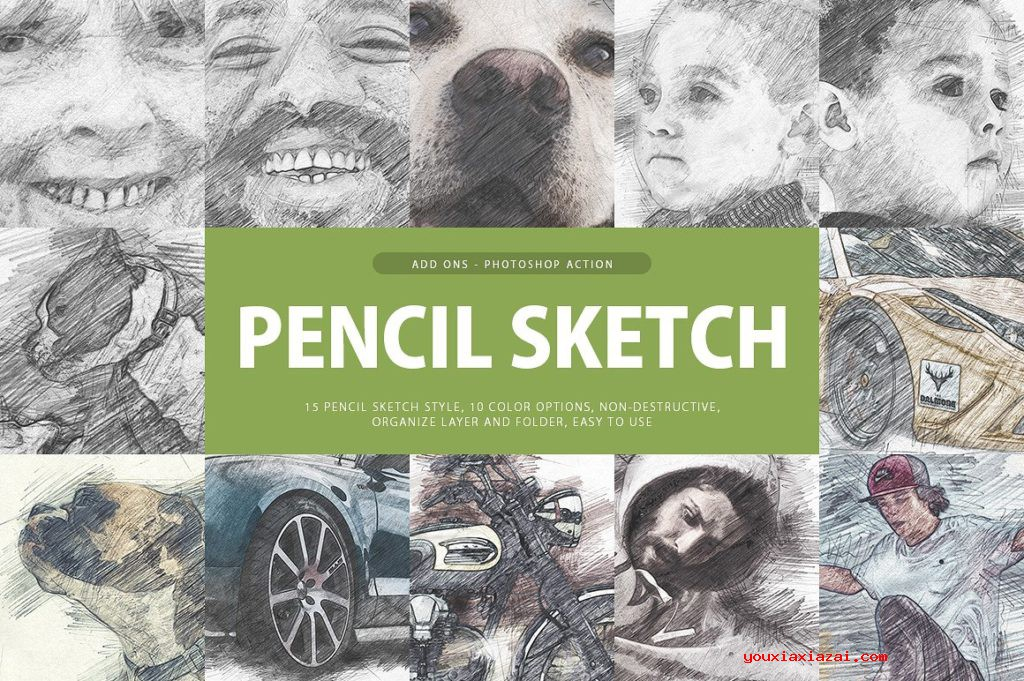 Pencil Sketch Photoshop Action 铅笔素描PS动作